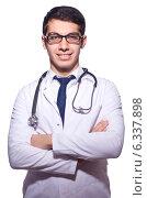 Купить «Young male doctor isolated on white», фото № 6337898, снято 7 января 2013 г. (c) Elnur / Фотобанк Лори