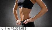 Купить «close up of athletic female abs in sportswear», фото № 6339682, снято 8 мая 2014 г. (c) Syda Productions / Фотобанк Лори