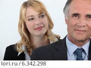 Купить «Woman admiring her boss», фото № 6342298, снято 6 мая 2011 г. (c) Phovoir Images / Фотобанк Лори