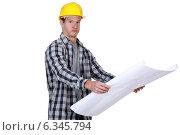 Купить «A foreman checking plans.», фото № 6345794, снято 12 мая 2011 г. (c) Phovoir Images / Фотобанк Лори