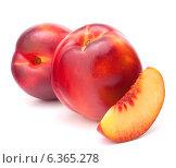Купить «Nectarine fruit isolated on white background cutout», фото № 6365278, снято 23 августа 2013 г. (c) Natalja Stotika / Фотобанк Лори