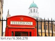 Красная телефонная будка на фоне Бодлианской библиотеки. Оксфорд. Англия (2013 год). Стоковое фото, фотограф Andrei Nekrassov / Фотобанк Лори