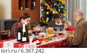 Купить «family of three generations celebrating Christmas», фото № 6367242, снято 21 сентября 2018 г. (c) Яков Филимонов / Фотобанк Лори