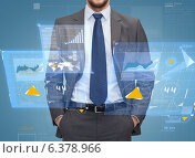 Купить «close up of businessman over blue background», фото № 6378966, снято 15 марта 2014 г. (c) Syda Productions / Фотобанк Лори