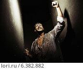 Купить «Exhausted victorious guy after tough survival», фото № 6382882, снято 24 октября 2019 г. (c) Ingram Publishing / Фотобанк Лори