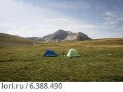Палатки на фоне горы. Стоковое фото, фотограф Максим Кожушко / Фотобанк Лори