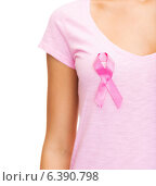 Купить «woman with pink cancer awareness ribbon», фото № 6390798, снято 25 июля 2013 г. (c) Syda Productions / Фотобанк Лори