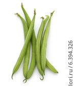 Green beans handful isolated on white background cutout. Стоковое фото, фотограф Natalja Stotika / Фотобанк Лори