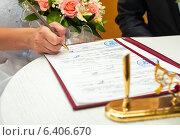 Купить «Невеста ставят подпись в документах в ЗАГСе», эксклюзивное фото № 6406670, снято 1 августа 2014 г. (c) Игорь Низов / Фотобанк Лори