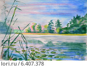 Купить «Утро на реке, туман. Графика», иллюстрация № 6407378 (c) Emmerdeur / Фотобанк Лори