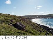 Hiker at coast, Cape Spear, St. John's, Newfoundland And Labrador, Canada (2013 год). Стоковое фото, агентство Ingram Publishing / Фотобанк Лори