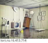 Купить «Ordinary life in the flooded flat. 3d concept», фото № 6413714, снято 15 августа 2018 г. (c) Ingram Publishing / Фотобанк Лори