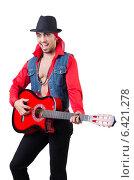 Купить «Male guitar player isolated on the white», фото № 6421278, снято 19 января 2013 г. (c) Elnur / Фотобанк Лори