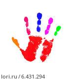 Купить «Разноцветный отпечаток руки на белом фоне», фото № 6431294, снято 31 марта 2020 г. (c) Константин Орлов / Фотобанк Лори