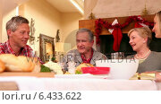 Купить «Three generation family having christmas dinner together», видеоролик № 6433622, снято 22 июля 2019 г. (c) Wavebreak Media / Фотобанк Лори