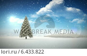 Купить «Snow falling on forest in snowy landscape», видеоролик № 6433822, снято 18 июня 2019 г. (c) Wavebreak Media / Фотобанк Лори