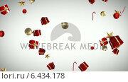 Купить «Gifts candy canes and christmas decorations falling», видеоролик № 6434178, снято 15 сентября 2019 г. (c) Wavebreak Media / Фотобанк Лори