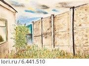 Купить «Рисунок. Вид из окна на заросли иван-чая и бетонный забор», иллюстрация № 6441510 (c) Олег Хархан / Фотобанк Лори