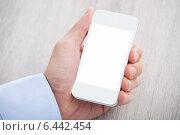 Купить «Businessman's Hand Holding Cellphone With Blank Screen», фото № 6442454, снято 25 марта 2014 г. (c) Андрей Попов / Фотобанк Лори