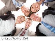 Купить «Confident Business Team Making Huddle», фото № 6443354, снято 1 июня 2014 г. (c) Андрей Попов / Фотобанк Лори
