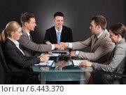 Купить «Businessmen Shaking Hands During Conference Meeting», фото № 6443370, снято 1 июня 2014 г. (c) Андрей Попов / Фотобанк Лори