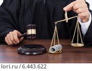 Купить «Judge Striking Gavel While Holding Scale With Money», фото № 6443622, снято 7 мая 2014 г. (c) Андрей Попов / Фотобанк Лори
