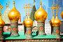 Маковки православного храма на Соборной площади в Московском Кремле, фото № 6449894, снято 3 июня 2014 г. (c) Сергей Новиков / Фотобанк Лори