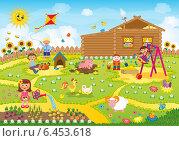 Купить «Дети играют летом во дворе», иллюстрация № 6453618 (c) ivolodina / Фотобанк Лори