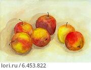 """Купить «Натюрморт """"Красные яблоки на столе"""", акварель», иллюстрация № 6453822 (c) Ирина Иванова / Фотобанк Лори"""