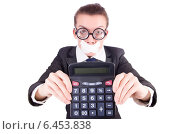 Купить «Woman with calculator in fraud concept isolated on white», фото № 6453838, снято 11 января 2013 г. (c) Elnur / Фотобанк Лори