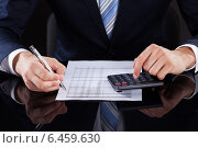 Businessman Calculating Financial Expenses At Desk. Стоковое фото, фотограф Андрей Попов / Фотобанк Лори