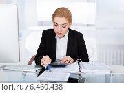 Купить «Businesswoman Calculating Bills», фото № 6460438, снято 11 января 2014 г. (c) Андрей Попов / Фотобанк Лори