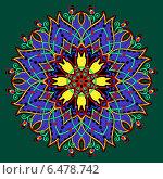 Купить «Круглый яркий растительный орнамент на зеленом фоне», иллюстрация № 6478742 (c) Олеся Каракоця / Фотобанк Лори