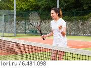 Купить «Pretty tennis player celebrating a win», фото № 6481098, снято 11 июня 2014 г. (c) Wavebreak Media / Фотобанк Лори