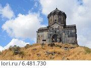 Купить «Армения, церковь 11 века рядом с крепостью Амберд», фото № 6481730, снято 13 сентября 2014 г. (c) Овчинникова Ирина / Фотобанк Лори
