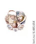 Дед Мороз и Снегурочка. Стоковая иллюстрация, иллюстратор Татьяна Долосова / Фотобанк Лори