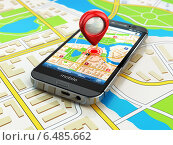 Mobile GPS navigation concept. Smartphone on map of the city, Стоковое фото, фотограф Maksym Yemelyanov / Фотобанк Лори