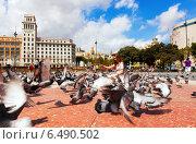 Купить «Pigeons at Catalonia Square. Barcelona, Spain», фото № 6490502, снято 12 сентября 2013 г. (c) Яков Филимонов / Фотобанк Лори