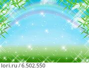 Голубой фон с радугой. Стоковая иллюстрация, иллюстратор Анна Яковлева / Фотобанк Лори