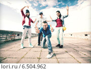 Купить «group of teenagers dancing», фото № 6504962, снято 20 июля 2013 г. (c) Syda Productions / Фотобанк Лори