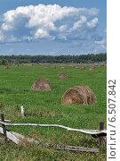 Стога сена за забором в поле. Стоковое фото, фотограф А. А. Пирагис / Фотобанк Лори