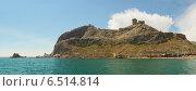 Купить «Судакская (генуэзская крепость). Вид с моря. Панорама», фото № 6514814, снято 9 июня 2013 г. (c) Ельцов Владимир / Фотобанк Лори