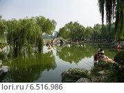 Купить «Китай, Пекин. Живописный вид пруда с искусственными островами и мостиком в городском парке», фото № 6516986, снято 9 сентября 2014 г. (c) Rokhin Valery / Фотобанк Лори