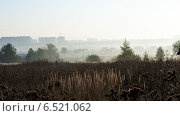 Осенний пейзаж на рассвете с полем, деревней и городом, фото № 6521062, снято 20 сентября 2014 г. (c) Эдуард Паравян / Фотобанк Лори