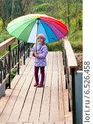 Купить «Девочка под зонтиком на мосту», фото № 6526458, снято 6 октября 2013 г. (c) Анастасия Лукьянова / Фотобанк Лори
