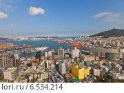 Купить «Вид города и порта Пусан с Пусанской башни. Южная Корея», фото № 6534214, снято 25 сентября 2014 г. (c) Иван Марчук / Фотобанк Лори
