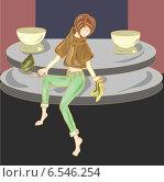 Девушка сидит, сняв туфли. Стоковая иллюстрация, иллюстратор ElenaGumerova / Фотобанк Лори