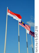 Купить «Флаги Сингапура и Малайзии на флагштоке на фоне голубого неба», фото № 6547218, снято 13 сентября 2014 г. (c) Александр Замараев / Фотобанк Лори