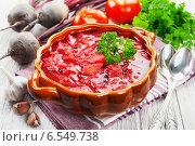 Купить «Борщ в  керамической супнице и свежие овощи», фото № 6549738, снято 14 октября 2014 г. (c) Надежда Мишкова / Фотобанк Лори