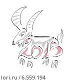 Новогодняя коза 2015. Стоковая иллюстрация, иллюстратор ElenaGumerova / Фотобанк Лори